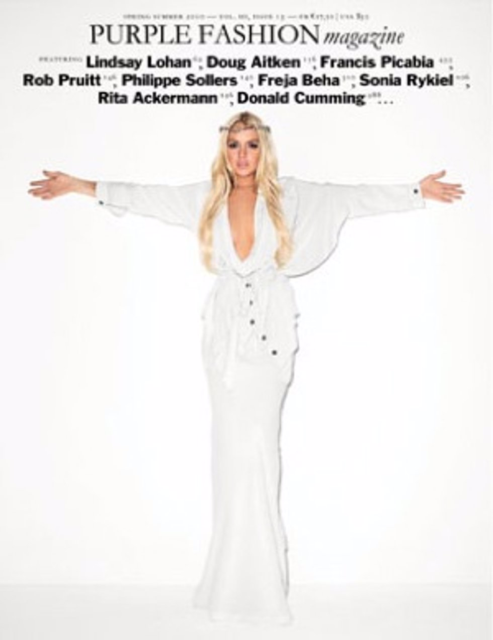 La actriz Lindsay Lohan emulando a Jesucristo en la portada de 'Purple Fashion'