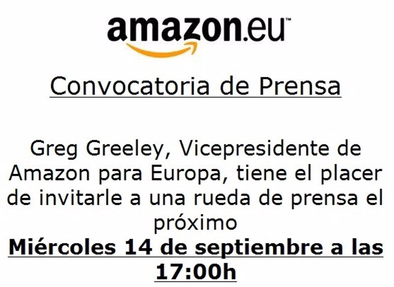 Convocatoria de prensa de amazon.eu