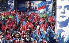 Manifestación En Moscú Celebrando Resultados Electorales