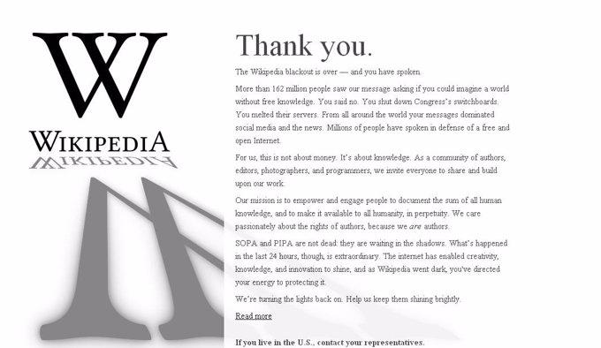Agradecimiento De Wikipedia A Los Usuarios Ley SOPA