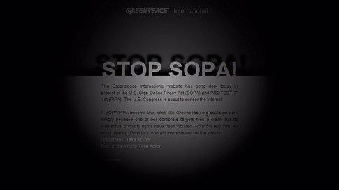 Página De Greenpeace Contra La Ley SOPA
