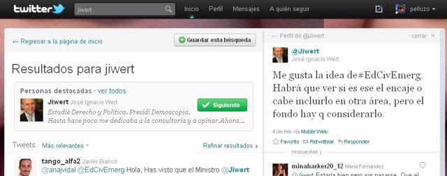 Twitt Del Ministro De Educación, José Ignacio Wert