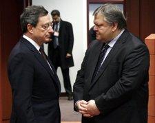 Mario Draghi Y Venizelos En La Reunión Del Eurogrupo
