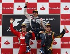 Alonso, Maldonado Y Raikkonen En El Podio Del Gran Premio De España