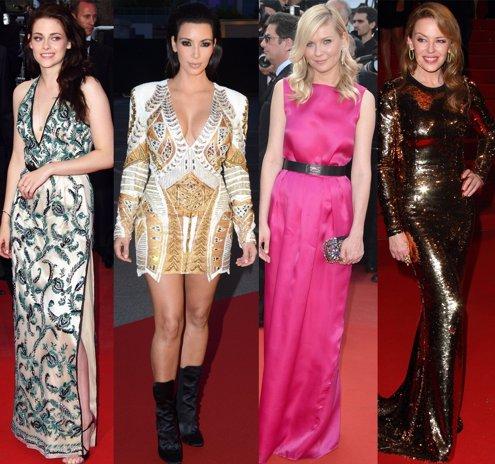 Montaje de Kristen Stewart, Kim Kardashian, Kirsten Dunst y Kylie Minogue