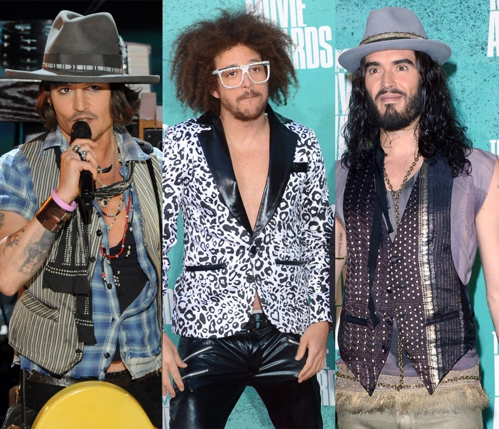 Montaje de Johnny Depp, LMFAO y Russell Brand en los MTV Movie Awards