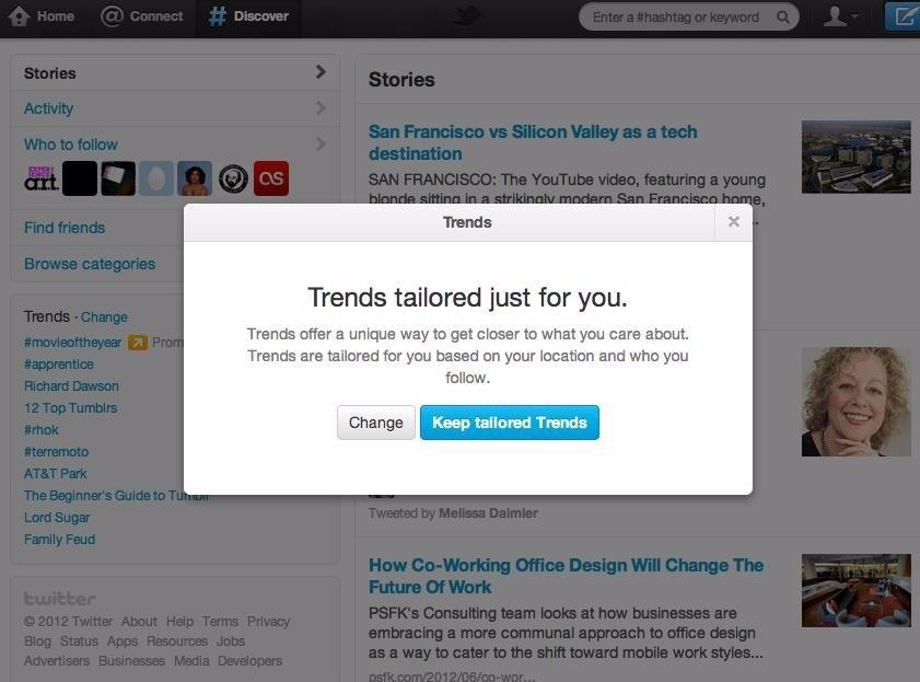 Twitter ofrecerá temas del momento personalizados
