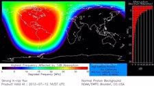 Gráfico del momento de mayor intensidad de la llamarada solar