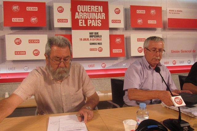 Méndez y Toxo anuncian movilizaciones contra las medidas del Gobierno
