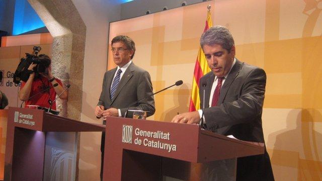 El Conseller Lluís Recoder Y El Portavoz Francesc Homs