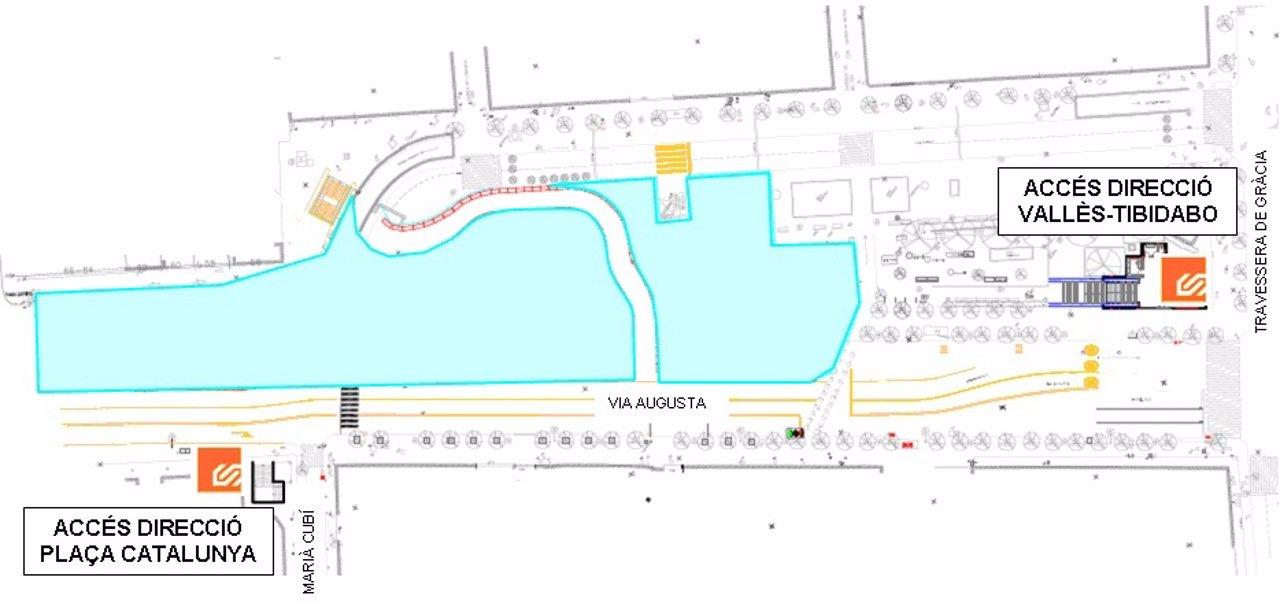 Nuevo Acceso Provisional A La Estación De FGC De Gràcia