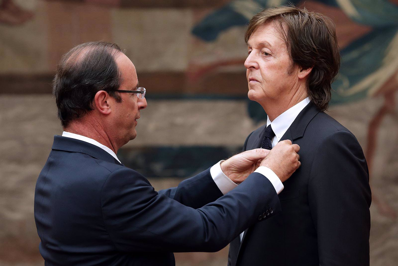 François Hollande y Paul McCartney