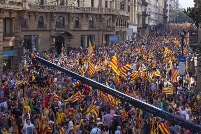 Via Laietana, Durante La Marcha De La Diada