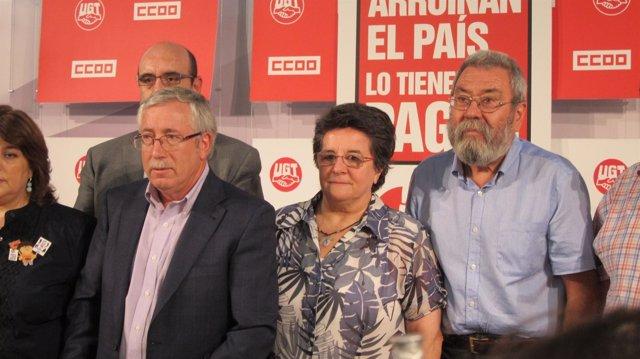 Méndez Y Toxo Durante La Presentación De La Movilización Del 15 De Septiembre