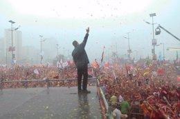El presidente venezolano, Hugo Chávez, durante el cierre de campaña en Caracas.
