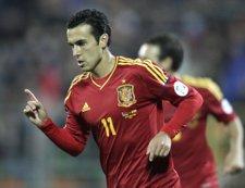 Pedro Rodríguez con la selección española en el Bielorrusia - España