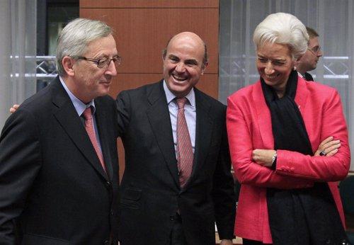Guindos, Lagarde y Juncker en el Eurogrupo