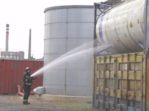Adif realiza un simulacro de emergencia en la terminal de contenedores de León para la mejora de la seguridad