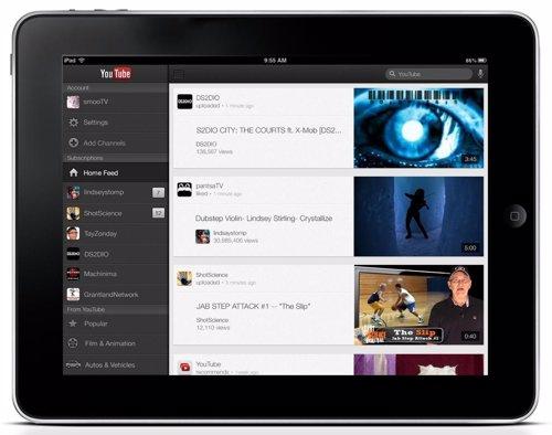 Aplicación de YouTube en el iPad