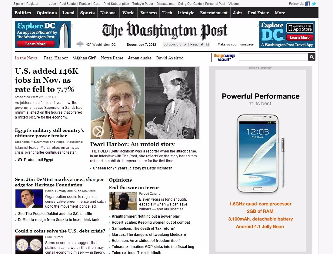 Página web The Washington Post