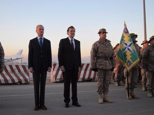 Morenés, Rajoy y el jefe del Estado Mayor de la Defensa