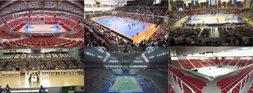 Montaje con las seis sedes del Mundial de balonmano de España 2013