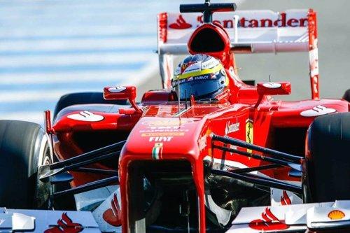 Pedro Martínez de la Rosa en su primer día en Ferrari