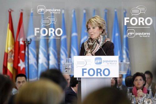 Esperanza Aguirre durante su intervención en el Foro PP Madrid