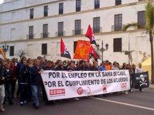 Imagen de la manifestación por el empleo en Cádiz