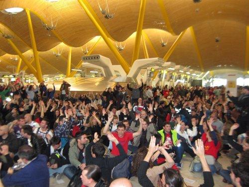 Protesta en la terminal t4