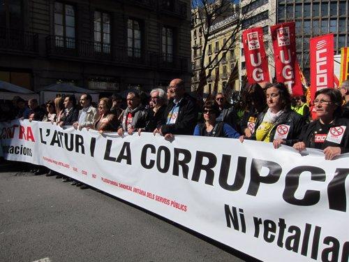 Manifestación sindical contra la corrupción