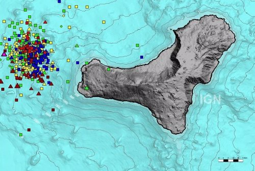 Localización de los sismos registrados en los últimos tres días