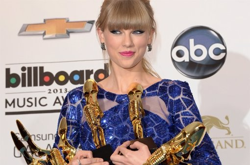 Taylor Swift con sus ocho galardones Billboard 2013