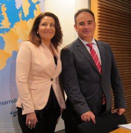 Carmen Crespo y Manuel Romero, hoy en rueda de prensa.