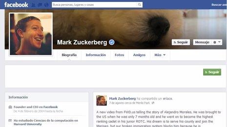 Perfil de Mark Zuckerberg en Facebook