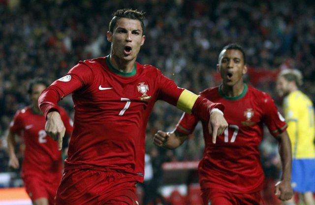 Cristiano Ronaldo, tras marcar con Portugal