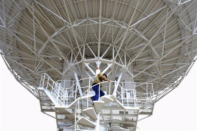 Área de control del satélite Túpac Katari, en las afueras de La Paz.