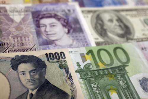 Recurso de yen, yuan, dólar y euro