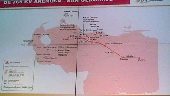 Mapa línea eléctrica Venezuela