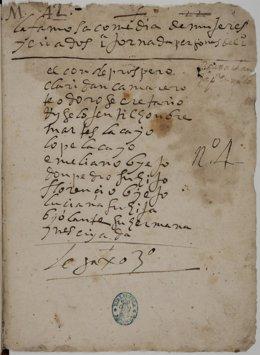Copia manuscrita de la comedia inédita de Lope de Vega 'Mujeres y criados'