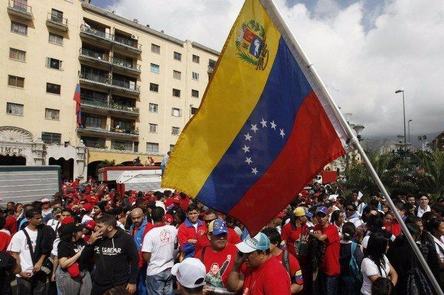 Manifestación de los jóvenes convocada por el Gobierno de Venezuela