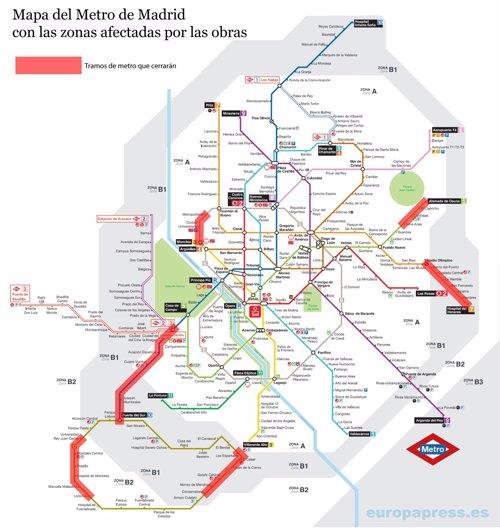 Mapa de obras del Metro