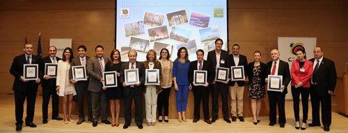 Los premiados con Marta Blanco