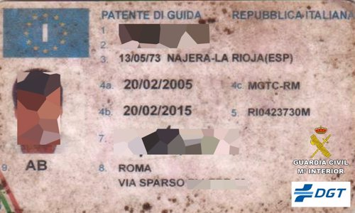 Documento de conducir falso de Italia
