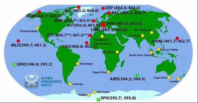 Concentraciones altas de CO2 en el hemisferio norte