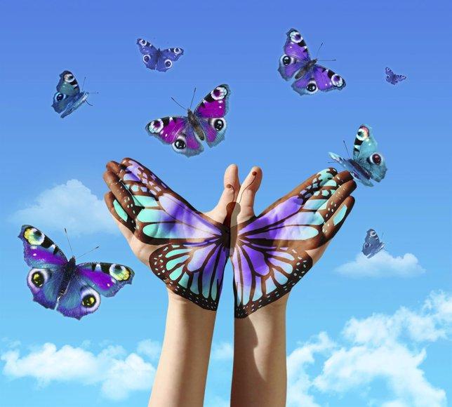 El difícil arte de perdonar, manos, mariposas