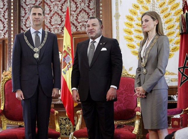 Felipe VI y la Reina Letizia con Mohamed VI en Marruecos