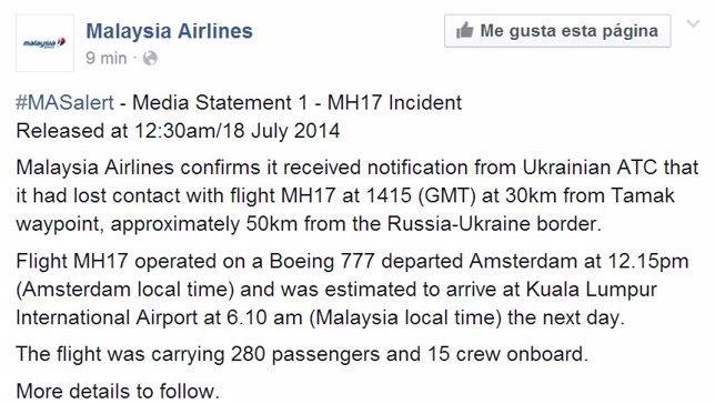 # RUMOR DE GUERRA: Seguimiento vuelo MH17 Fotonoticia_20140717195344_644