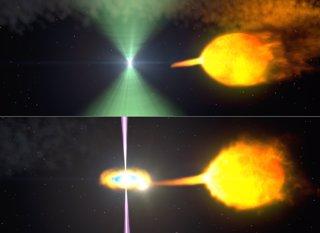 Púlsar J1023 antes y después del apagado de su baliza