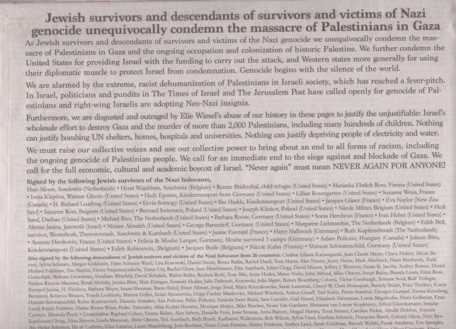 La carta firmada por 327 judíos en el 'NYT'